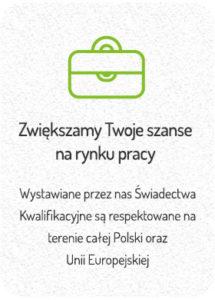 Zwiększamy szanse na rynku pracy - Wystawiane przez nas Świadectwa Kwalifikacyjne są respektowane na terenie całej Polski oraz Unii Europejskiej